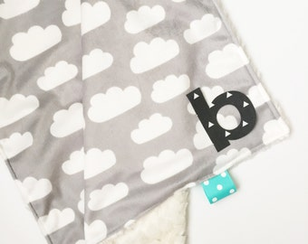 Minky blanket-Snuggle-Personalized baby blanket-Custom-Monogrammed-Clouds-Lovely blanket-Security blanket-Custom-Modern-Baby blanket-Fur