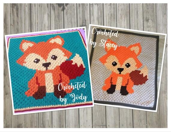 instant download - fox - crochet graph