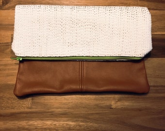 Fold Over Clutch-  rust Italian Leather Pebbled Cow  - day- evening- Purse