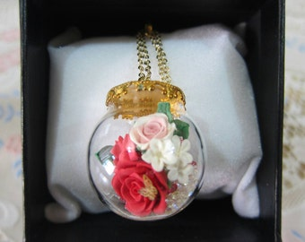 Handmade Little Clay Bouquet in Glassball Necklace (Gift Box Set A) Happy Valentine's Day