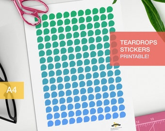 Small Teardrop planner stickers - a4 planner inserts - downloadable