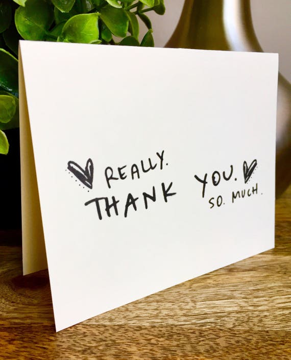 Really big thank you, thank you card set unique style, simple thank you card, handlettered stationery, Hand lettered card, thanks so much