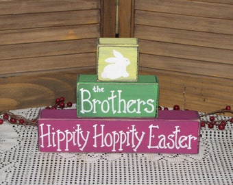 Personalized Hippity Hoppity Easter Primitive Hand Painted Wooden stacking blocks sign shelf sitter