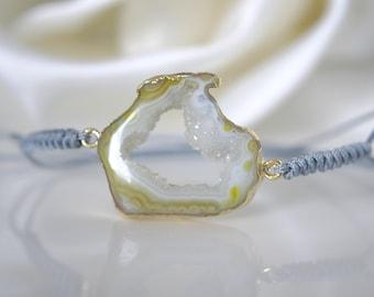 Agate Druze macrame - technology knotted bracelet nylon cord