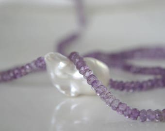 Amethyst necklace with Baroque Pearl gemstone necklace