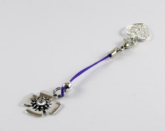 Purple Corded Clasp Heart Opener works with Pandora / Chamilia Charm Bracelets