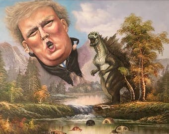 Trump and Godzilla. Twist on a thrift store paint for all lovers of political satire.