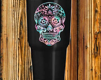 Patterned  sugar skull decal- Glitter sugar skull decals - Solid Sugar skull decals - Skull decals- Solid sugar skull decals