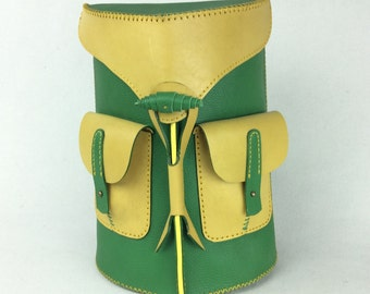 Green Yellow Leather Backpack Rucksack Hippie