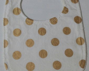 100% Cotton Baby Bib - White with Gold Spots