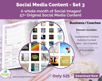 Social Media Images - Content General Business & Coaches (SET 3) -- 57+ original images, blank planner pages, checklists, tasks, and goals