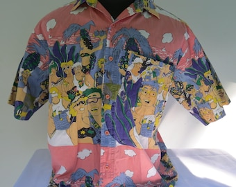 Vintage Sub Studio Men's Shirt - Pastel Party People Graphic  - Men's Large