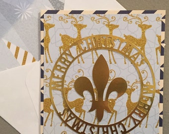 Christmas Cards-Deer Cards--Merry Christmas Cards--Gold Cards--Set of 4