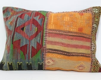 Patchwork Kilim Pillow 20X28 Kilim Pillow Turkish Kilim Pillow Sofa Pillow Anatolian Kilim Pillow Decorative Pillow  SP5070-760