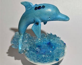 Jumping Dolphin from the pool in the real seashell miniature figurine terrarium fairy decor