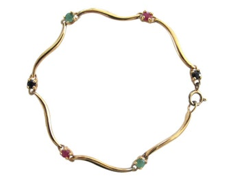 Sterling Silver Vermeil with Ruby, Sapphire & Emerald Bracelet