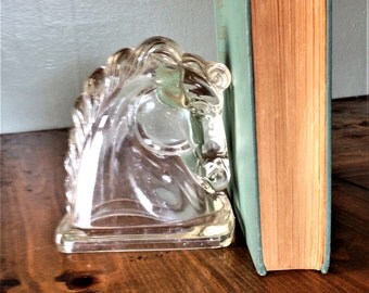 Vintage Federal Glass Co Art Deco Horse Head Bookend-Clear, MidCentury Modern, Single, Roman Trojan Decor