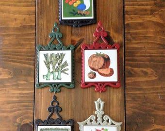 Vintage 5 1970s Cast Iron Trivets Potholders Wall Hanging Kitchen Decor Mushroom train Bird Train Herbs Red Green Black Gray Art Tile