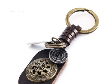 Unique Leather Shield Key Chain