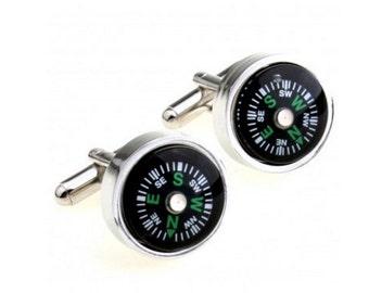 Compass Cufflink-k14  - Free Gift Box