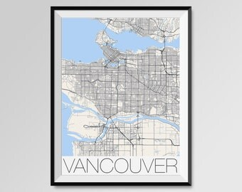VANCOUVER Map Print, Modern City Poster, Black and White Minimal Wall Art for the Home Decor