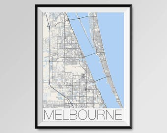 MELBOURNE Florida Map, Melbourne City Map Print, Melbourne Map Poster, Melbourne Art, Melbourne gift, Custom city, Personalized Florida map