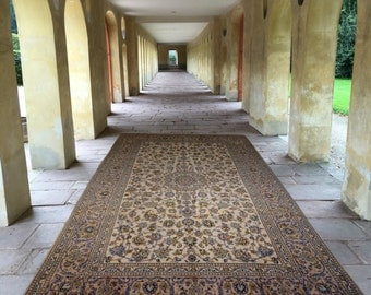 Vintage Kashan persian rug 12 x 8  ft / 360 x 240 cm Bohemian rug