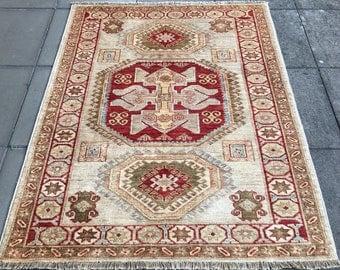 Vintage Kazak rug 5.11 x 4.1 ft / 186 x 140 cm Bohemian rug 7 x 5, 6 x 4 ft interior design Afghan
