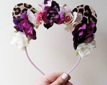 Toddler/ child flower & ears headband