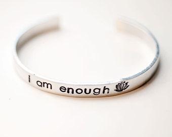 I am enough bracelet, inspirational, motivational jewelry, yoga bracelet, yoga gift, inspirational gift, mantra bracelet,affirmation jewelry