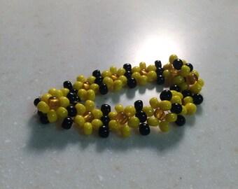 Sunflower Glass Beaded Bracelet Stretchy