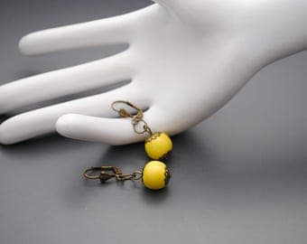 Earrings yellow ceramic