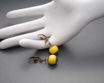 Earrings yellow ceramic