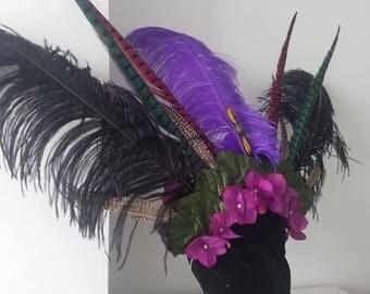 Feather headpiece / feather headdress / festival headpiece / festival headdress / bohemian / boho / forest / hat