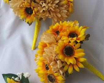 Yellow Sunflower Bouquet Yellow Wedding Bouquet Orange Sunflower Bouquet Orange Wedding Bouquet Yellow Bridal Bouquet Orange Bridal Bouquets