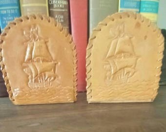 Vintage leather bookends