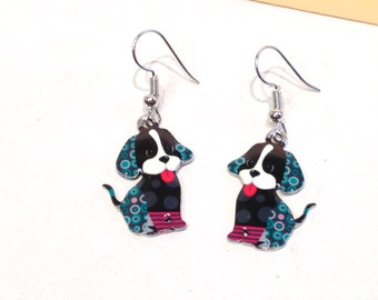 Earrings simpático black dog, painted jewelry handmade, best friend dog earrings, gifts for women, gifts best friend, earrings