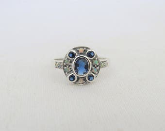 Vintage Sterling Silver Blue Sapphire & White Opal Ring Size 7