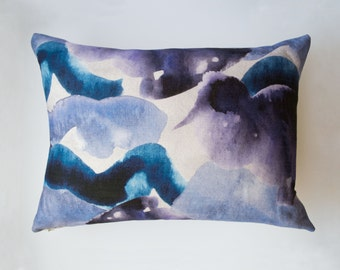 Purple, Grey and Blue Stormy Skies Large Abstract Watercolour Cushion | 50/50% cotton/linen |60 x 45cm | with Curled Duck Feather Pad