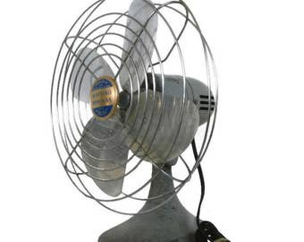 Vintage Fan | Retro Manning Bowman Model No. 52 Fan | Old Electric Fan | Industrial Working Gray Fan |  Grey Art Deco Shelf/Table/Desk Fan