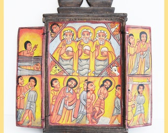 ETHIOPIAN ICON - Painted Coptic Christian Carved Wood Icon, From Ethiopia, Central Africa