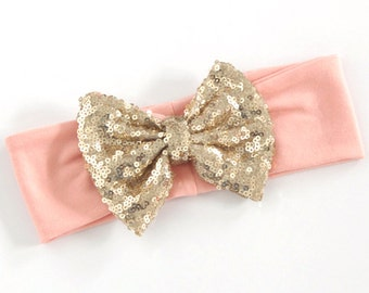 Gold Bow Baby Headband With Light Pink Elastic Band - The Golden Girl Headband