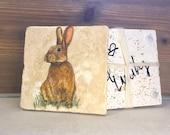 Bunny Designed Coasters/ Coasters/ Handmade Coasters/ Easter Bunny Coasters/ Bunny Design
