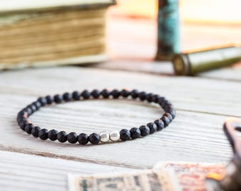 4mm - Matte black faceted onyx beaded stretchy bracelet with sterling silver beads, made to order mens bead bracelet, elegant mens bracelet