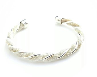 Vintage Sterling Silver Round Spiral Cuff Bracelet with Fine Mesh Texture