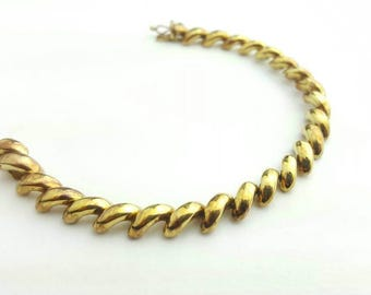 Vintage Sterling Silver Gold Tone Thick San Marco Chain Link Bracelet- 7.25 Inch Length