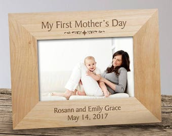 Personalized My First Mother's Day Wood Frame with Customizable Picture Frames