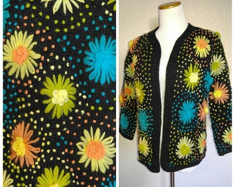 Clearance *** Vintage Black Colorful Daisy Cardigan