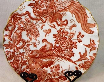 Royal Crown Derby Red Aves Bone China Salad Plate; New Vintage
