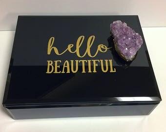 Amethyst Cluster Box, Black Box, Decorative Glass Box,Beautiful Box,Black Box Jewelry Box,Birthstone Box,Purple Gold Black,Ring Box